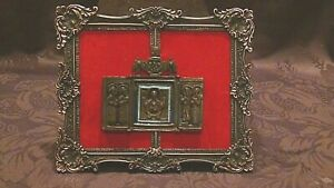 Antique 18c Russian Bronze Tryptich Travel Icon With Blue Enamel In Ornate Frame