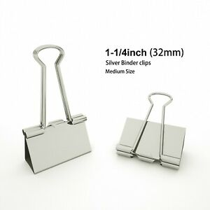 Silver Binder Clips Medium Metal Clamp 1 1 4 In 1 25 Inch silver 24 count