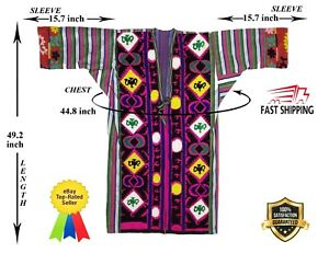 Hand Embroidery Silk Uzbek Vintage Bekasam Robe Dress Chapan Sale Was 159 00
