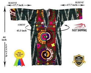 Hand Embroidery Uzbek Silk Adras Vintage Suzani Robe Dress Coat Sale Was 160 00