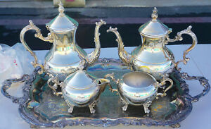 F B Rogers Co 1883 Silver Plated 5 Piece Coffee Tea Service Set Silverplate