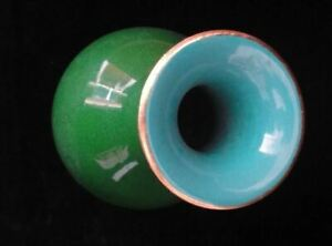 Rare Old Chinese Diamond Green Glaze Porcelain Bottle Vase Marked Qianlong