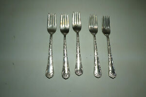 Wm Rogers Sons Silver Plate Enchanted Rose 5 Salad Forks