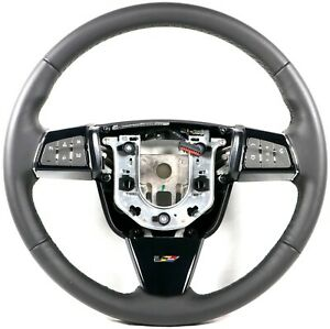 2009 2015 Cadillac Cts V Steering Wheel Automatic Black Leather Black Stitching