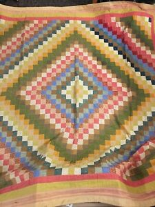 Antique Vintage Quilt Around The World Aprox 81 X 79 Handmade