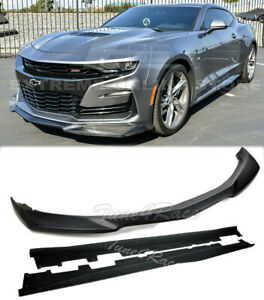 For 19 Up Camaro Lt Ls Rs Ss Plastic Zl1 Style Front Lip Splitter Side Skirts