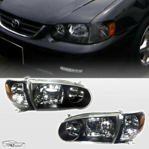 For 2001 2002 Toyota Corolla Jdm Headlights Black Housing Clear Lens Pair Set