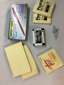Vintage Office Desk Supplies Lot Paper Clips Sticky Notes Labels Red Pens