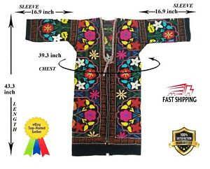 Vintage Suzani Multicolor Uzbek Embroidery Robe Chapan Dress Sale Was 135 00