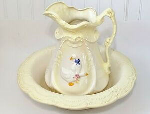 Vintage Ironstone Pitcher And Basin Set Wash Jug And Bowl England Made Geese