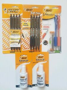8 Bic Soft Feel Black Ball Point Pens 1 Mechanical Pencils 2 White Out Organize