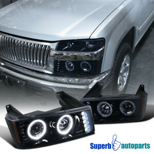 For 2004 2012 Chevy Colorado Glossy Black Dual Halo Led Drl Projector Headlights