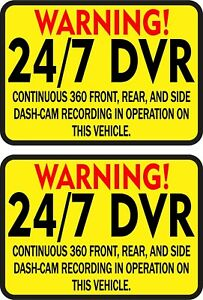 3 5in X 2 5in Warning 24 7 Dvr Recording Stickers Car Truck Vehicle Bumper Decal