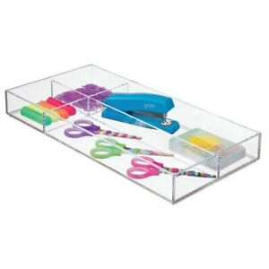 Mdesign Long Plastic Divided Office Drawer Organizer 4 Sections 4 Pack Clear
