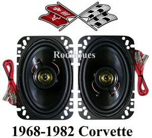 1968 1982 Corvette Stereo Speakers Custom Fit For Factory Locations 4x6 Pair