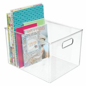 Mdesign Plastic Storage Bin With Handles For Home Office Clear