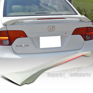 For 2006 2011 Honda Civic 4dr Abs Rear Trunk Spoiler Wing Led 3rd Light
