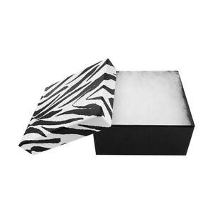 100 Pc Zebra Jewelry Gift Boxes Cotton Filled Batting 3 3 4 X 3 3 4