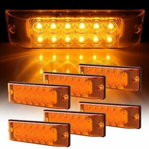 6pcs 12 Led 8 Inch Amber Side Marker Light Pickup Truck Lorry Boat Van