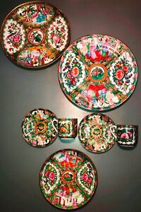 Fine Rose Medallion Porcelain Plates Chinese Export China Oriental 7 Pieces