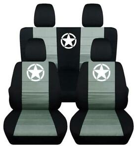 Front Rear Two Tone Star Design Car Seat Covers Fits Jk Wrangler 2 4dr 2007 2018