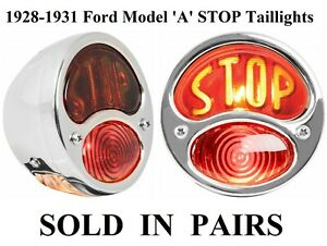 1928 1931 Ford Model A Taillights Stop Script Lens Glass Left Right Stainless