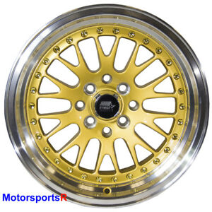 Mst Wheels Mt10 Rims 15x8 25 Gold Deep Lip 4x100 Stance 06 17 18 Toyota Yaris S
