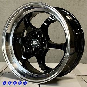 Mst Mt39 16 X7 30 Black Machine Lip Wheels 4x100 Concave Toyota Yaris Mrs Echo