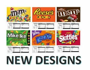 6 Pack Vending Machine Candy Stickers Labels Nutrition Info New Designs