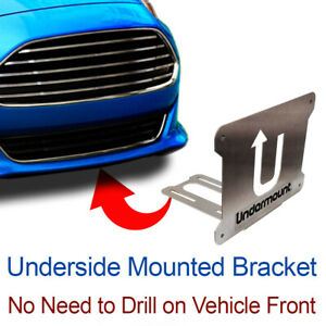 Under Mount License Plate Bracket Tag Frame Mounting Holder No Drill Front For