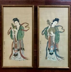 Pair Of Framed Antique Chinese Hand Paintings On Silk Beauties W Instruments