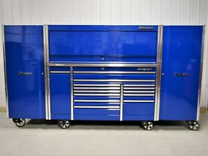 Snap On Blue 76 Epiq Tool Box Stainless Top Hutch 2 Full Size Lockers