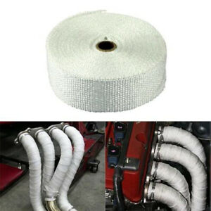 5m White Fiberglass Exhaust Muffler Header Pipe Heat Wrap Tape Cloth 4 Tie Kit