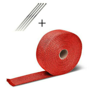 5m Roll Red Exhaust Wrap Manifold Header Pipe Heat Wrap Tape W 4 Ties Kit