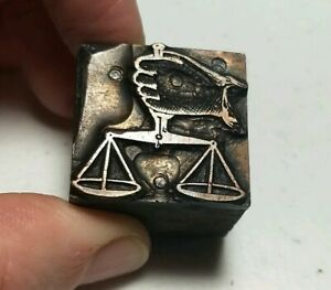 Vintage Letterpress Printing Block Hand Holding Scale Scales Of Justice