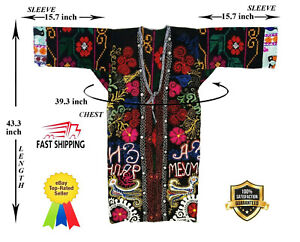 Vintage Velvet Uzbek Multicolor Hand Embroidery Robe Dress Coat Sale Was 149 00
