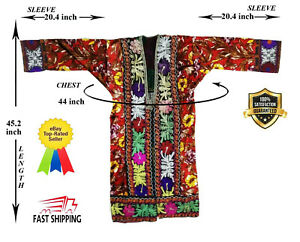 Multicolor Uzbek Bahmal Embroidery Vintage Suzani Robe Dress Sale Was 200 00