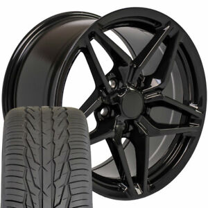 17 Black Wheel Tire Set Fits Corvette Camaro Cv31 C7 Zr1 Style 17x9 5