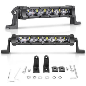 2pc 11d 8in Single Row Led Light Bar Cree Spot Work Driving Offroad 4wd Slim Fog