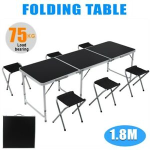 6ft Folding Table Portable Indoor Outdoor Picnic Party Camp Tables Utility Black