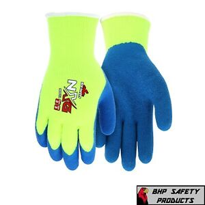 Mcr Safety Nxg Hi vis Insulated Winter Work Gloves Latex Dipped Palm Blue yellow