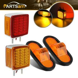 4xamber Red Stop Turn Signal Tail Fender Side Marker Led Truck Trailer Light Kit
