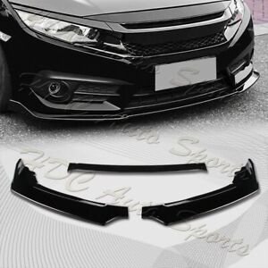 For 2016 2020 Honda Civic Painted Black Front Bumper Body Kit Spoiler Lip 3pcs