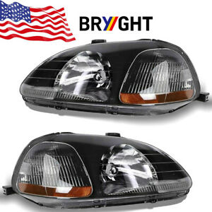 Jdm Black For 1996 1998 Honda Civic Dx Ex Lx Headlights Headlamps Left Right