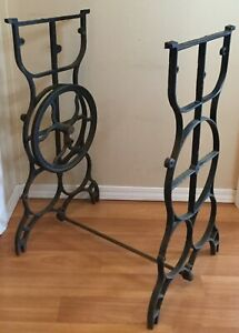 Old Vtg Antique Industrial Iron Base Treadle Sewing Machine Table Metal Part