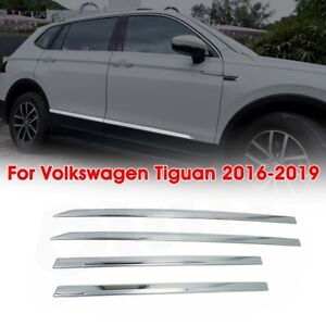 4pcs Chrome Body Side Door Molding Trim Cover Garnish For Vw Tiguan