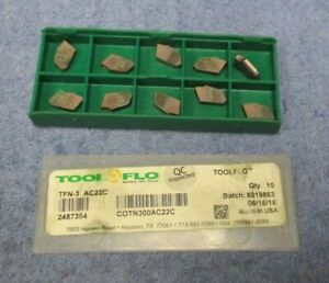 Tool Flo Carbide Inserts Tfn 3 Grade Ac22c Pack Of 10