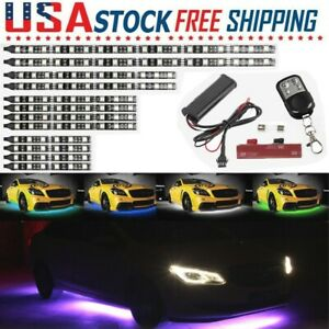 12pcs Rgb Led Neon Glow Lights Strip Multi Color Under Car Tube Underbody System