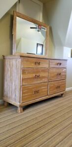 A Brandt Ranch Oak 2 Twin Beds Upright Dresser And Dresser With Mirror