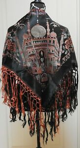 Antique Hand Embroidered Turkish Silk Piano Shawl W Long Fringe